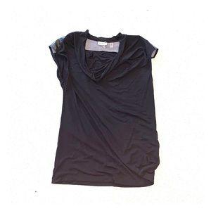DKNYC Black short sleeve top w/ faux leather